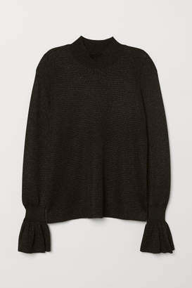 H&M Flounce-sleeved Sweater - Black