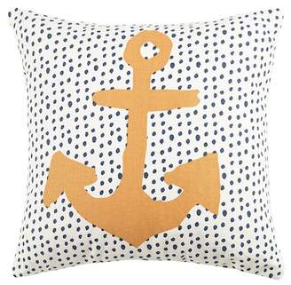"Peking Handicraft Anchor & Dots Reversible Pillow - 16"" x 16\"" - Multi"