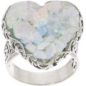 Glass Heart Or Paz Sterling Silver Roman Ring