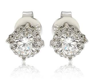 LeVian Suzy Jewelry Sterling Silver White CZ Round Stud Earrings