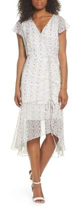 Sam Edelman Print Ruched Chiffon Midi Dress