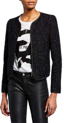 Emporio Armani Shimmer Tweed Zip-Front Jacket
