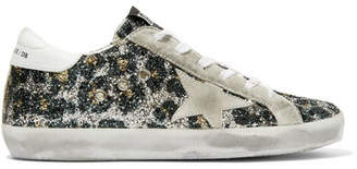Golden Goose Superstar Glittered Leather And Distressed Suede Sneakers - Silver