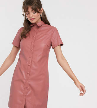 Glamorous shirt dress in soft faux leather