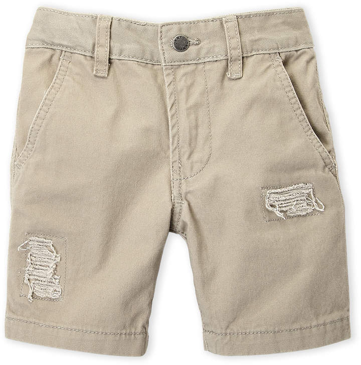 Boys 4-7) Twill Distressed Shorts