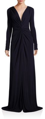 Badgley Mischka V-Neck Long Sleeve Gown $595 thestylecure.com