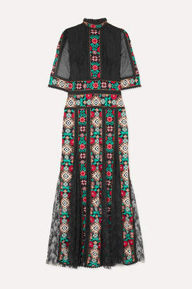 Costarellos Pleated Embroidered Lace Gown - Black