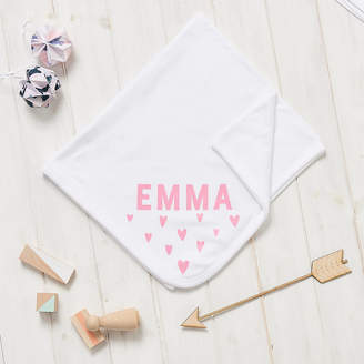 Owl & Otter Personalised New Baby Scandi Heart Blanket