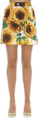 Dolce & Gabbana PRINTED HIGH WAIST COTTON POPLIN SHORTS