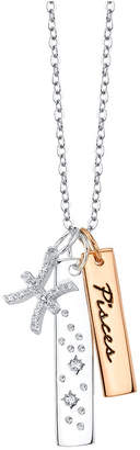 """Unwritten Cz Constellation Pisces Zodiac Pendant Necklace with Two-Tone Silver Plated Charms on Sterling Silver Chain, 18"""""""