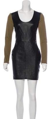 Robert Rodriguez Leather-Accented Mini Dress w/ Tags