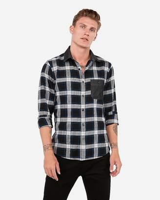 Express Slim Plaid Denim Pocket Lightweight Flannel Shirt