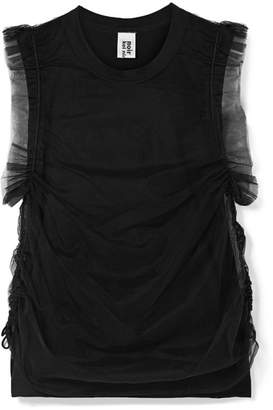 Noir Kei Ninomiya Lace-up Layered Tulle And Cotton-jersey Top - Black