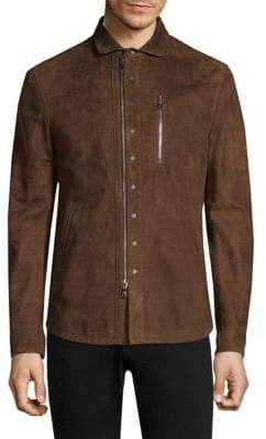 John Varvatos Suede Moto Shirt Jacket