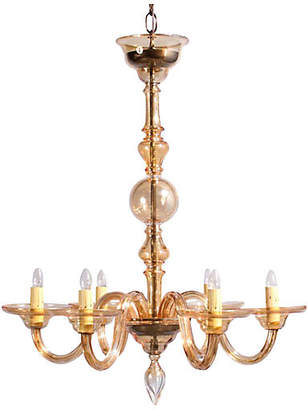 One Kings Lane Vintage 1940s Amber Murano Glass Chandelier - Negrel Antiques