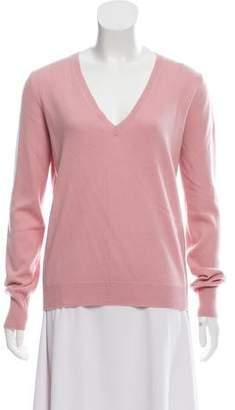 Prada Suede-Accented V-Neck Sweater