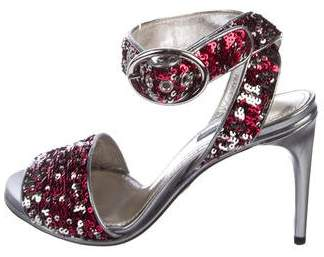 Dolce & Gabbana Sequin Ankle-Strap Sandals
