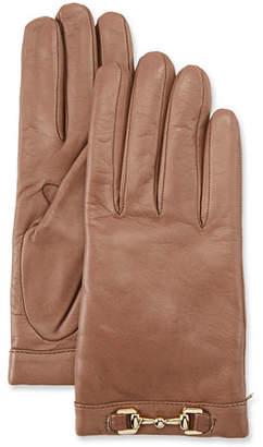 Portolano Napa Leather Cashmere-Lined Gloves w/ Horsebit