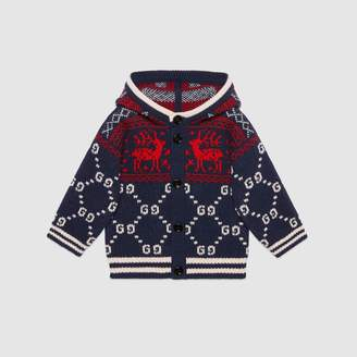 Gucci Baby GG reindeers wool cardigan