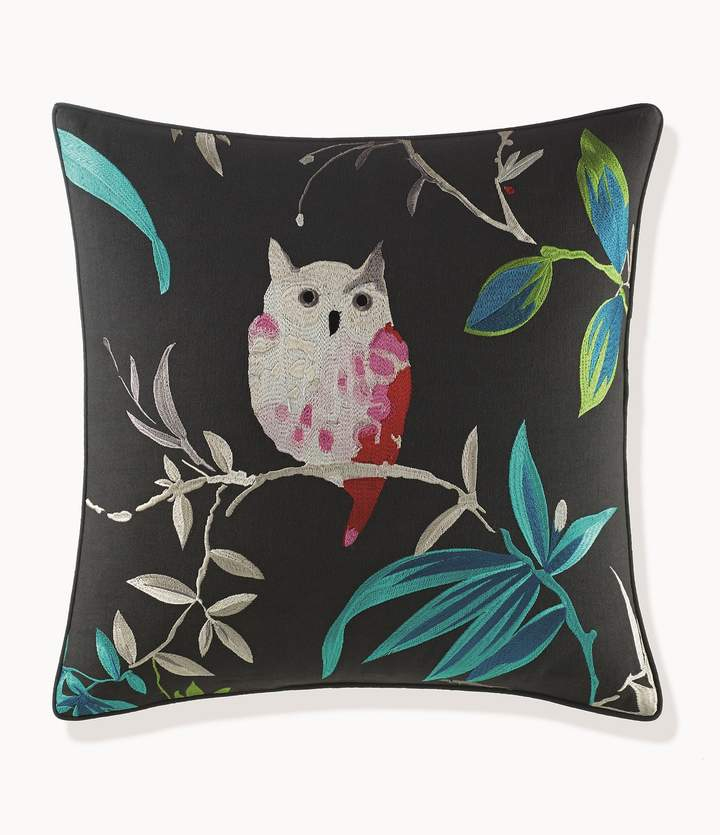 Trellis Blooms Owl-Embroidered Square Pillow