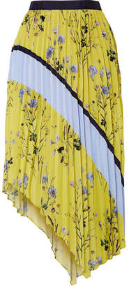 Asymmetric Pleated Printed Crepe De Chine Midi Skirt - Yellow