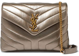 Saint Laurent Loulou Metallic Quilted Leather Shoulder Bag - Gold