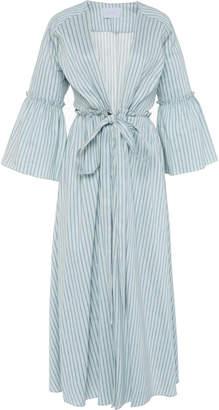 Luisa Beccaria Gathered Waist Cotton Linen Blend Shirt Dress