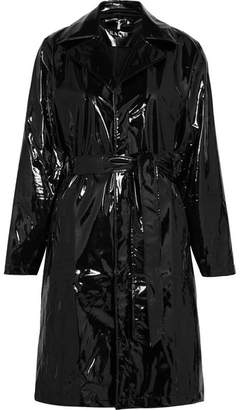 Rains Glossed-pu Trench Coat - Black