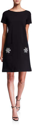 Joan Vass Crewneck Short-Sleeve Ponte Dress w/ Fancy Pocket Detail