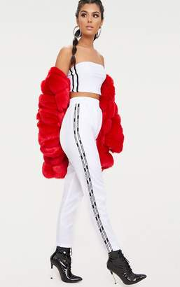 PrettyLittleThing White Stripe Track Pants
