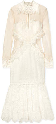 Jonathan Simkhai Lace And Mesh Midi Dress - Ivory