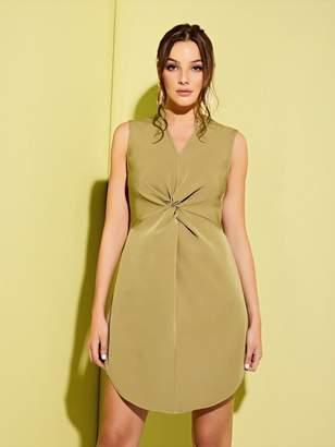 Shein V-cut Neck Twist Front Curved Hem Dress