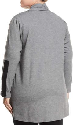 Joan Vass Plus Faux-Leather-Sleeve Draped Cardigan, Plus Size