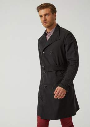 Emporio Armani Trench Coat In Technical Fabric With Belt