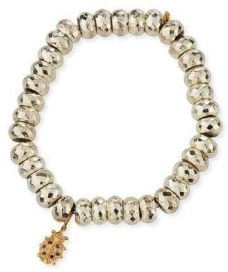 Sydney Evan Faceted Pyrite Beaded Bracelet with Ladybug Charm