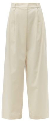 Brunello Cucinelli High Rise Cotton Blend Twill Trousers - Womens - Ivory