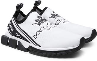 Dolce & Gabbana Logo-Print Stretch-Knit Sneakers