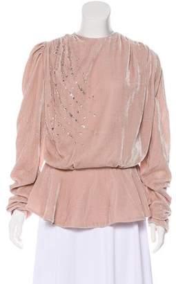 Magda Butrym Embellished Velvet Blouse w/ Tags