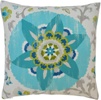 "Yellow Front Door Outdoor Cushion ""Aqua Suzani"""