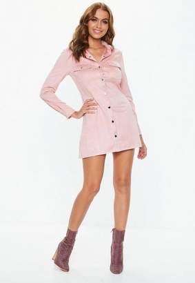 Missguided Petite Pink Popper Front Skater Faux Suede Dress
