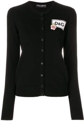 Dolce & Gabbana rose logo patch cardigan