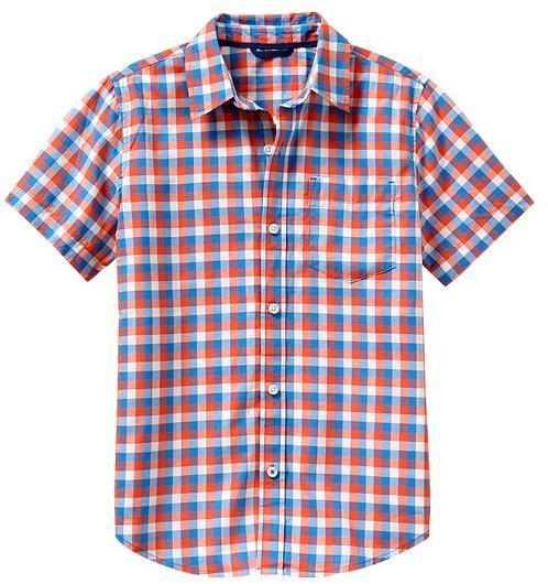 Gap Short-sleeve green gingham shirt