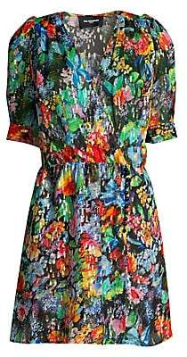 The Kooples Women's Metallic Floral Wrap Dress