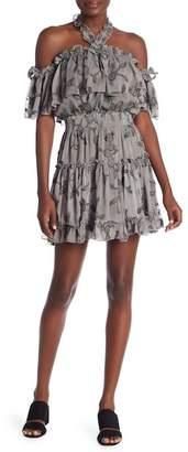 Dance and Marvel Floral Embroidered Halter Dress