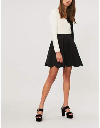 Valentino Scalloped wool and silk-blend dress