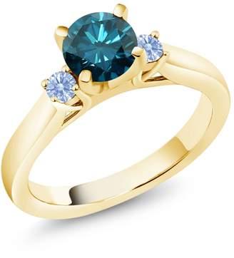 Swarovski Gem Stone King Diamond & Arctic Zirconia 18K Yellow Gold Plated Silver 3-Stone Ring