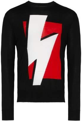 Neil Barrett Lightning bolt knit crew neck sweater