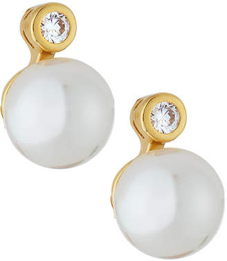 Majorica Small Pearl Button Earrings
