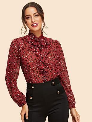 Shein Button Up Leopard Print Shirt