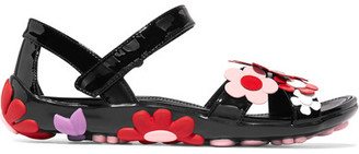 Prada - Floral-appliquéd Patent-leather Sandals - Black $990 thestylecure.com